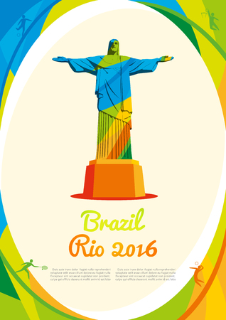 deportes olimpicos: Fondo con la vista principal de R�o de Janeiro en colores, Bienvenido a Brasil 2016. Modelo del vector de encima, folleto, cartel, informe para su empresa en tama�o A4 Editorial