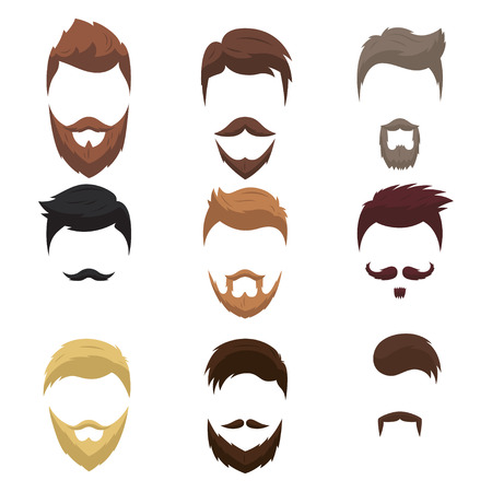 Collection of fashion stylish hairstyles and beards. Vector isolated hipsters hairstyles.