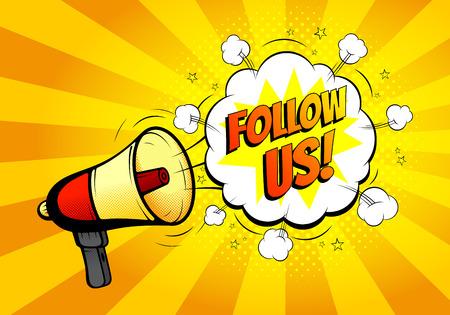 loud hailer: Banner with loudspeaker or megaphone in retro pop art style for social networks. Vector illustration. Icon of loud-hailer in pop art style with bomb explosive background. Illustration