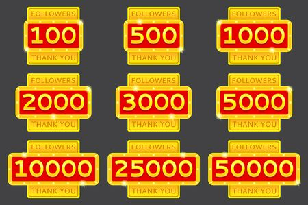 followers: Thank you followers. Collection of retro Thank you badges with glowing lamps. Followers labels isolated on grey background.