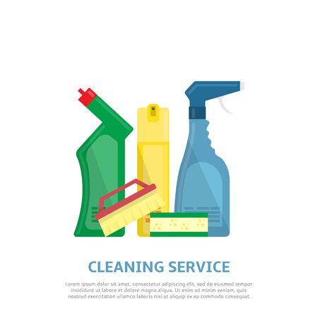 air cleaner: Ilustración del vector con pincel, esponja, producto detergente, limpiador de cristales, ambientador de aire. Vectores
