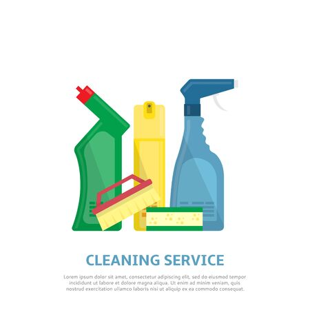 carpet cleaning service design: Vector illustration with brush, sponge, detergent product, glass cleaner, freshener for air.