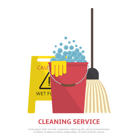 carpet cleaning service design: Vector illustration with wet floor sign, plastic red bucket, mop.