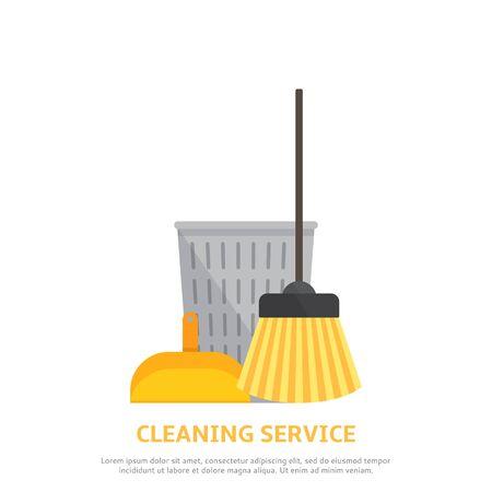 carpet cleaning service design: Vector illustration with scoop for garbage, broom, basket.