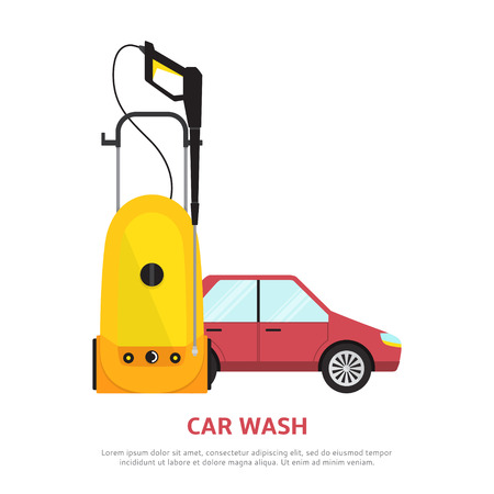 car wash: Vector illustration with car, tool for hand car wash.
