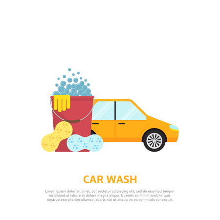 car clean: Vector background with car, red plastic bucket and  sponges.
