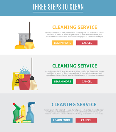 carpet cleaning service design: Vector illustration with brush, sponge, detergent product, glass cleaner, broom, mop and other different tools for cleaning. Icons in flat style.
