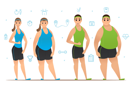 female body: Weight loss before and after workouts. Vector illustration. Collection of sport icons.