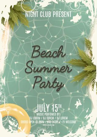 Retro mooie achtergrond op zee thema met zee, zeewater en palmbomen. Vintage uitnodiging om te feesten. Vector illustratie.