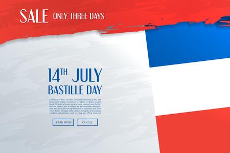fourteenth: 14 july celebration poster with French flag. Vector illustration. Illustration