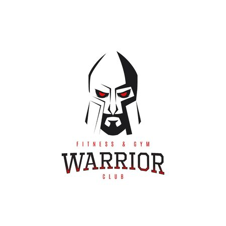 Vector label of silhouette of head of warrior isolated on the white background. Symbol of extreme sport. Illustration
