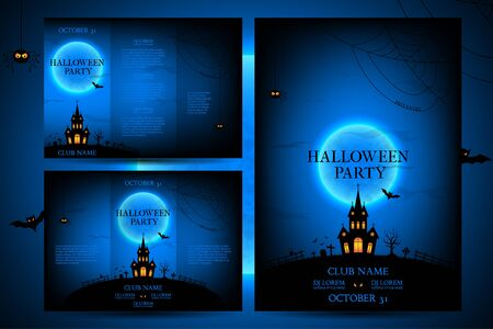 intertainment: Vector illustration. Templates of posters with terrible house on the blue background. Halloween party greeting cards.