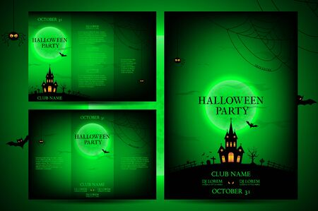 intertainment: Vector illustration. Templates of posters with terrible house on the green background. Halloween party greeting cards. Illustration