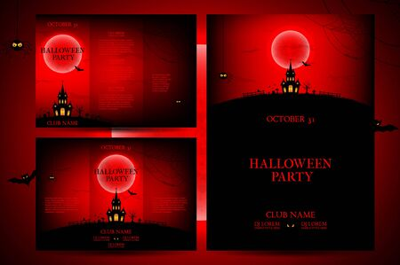 intertainment: Vector illustration. Templates of posters with terrible house on the red background. Halloween party greeting cards. Illustration