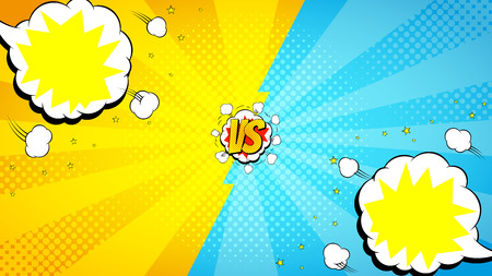 Vector illustration with speech bubbles. Decorative backdrop with bomb explosive in pop art style. Illustration