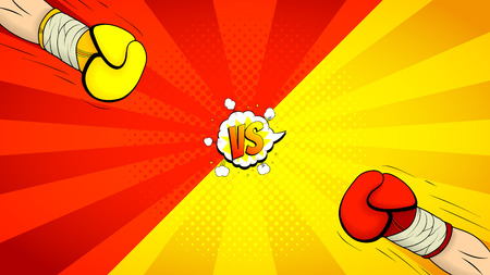 Vector illustration with hands of boxers. Decorative background with bomb explosive in pop art style.