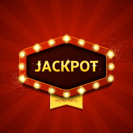 Vector illustration with shining lights in vintage style. Label for winners of poker, cards, roulette and  lottery. Zdjęcie Seryjne - 60698526