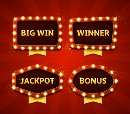 Collection of vector symbols with shining lights in vintage style. Labels for winners of poker, cards, roulette and  lottery. Zdjęcie Seryjne - 60698531