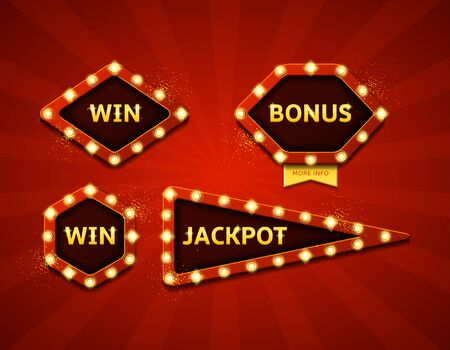 roulette layout: Collection of symbols with shining lights in vintage style. Labels for winners of poker, cards, roulette and  lottery.