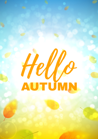 Beautiful background with the falling leaves. Vector template of brochure with place for text for your business in A4 size. 向量圖像
