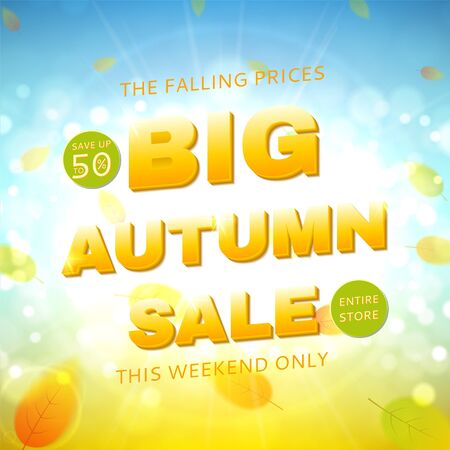 hi end: Shiny backdrop with sesasonal special offer. Beautiful sunny background with the falling leaves. Vector illustration.