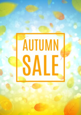 hi end: Shiny backdrop with sesasonal special offer. Beautiful sunny background with the falling leaves. Vector illustration. Template of brochure for your business in A4 size.