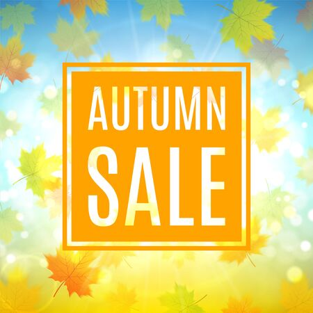 hi end: Shiny backdrop with sesasonal special offer. Beautiful background with the falling leaves. Vector illustration.