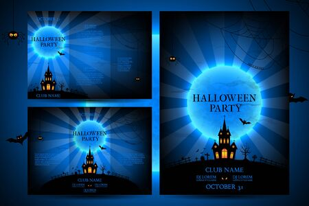 Templates of posters with terrible house on blue background. Halloween party greeting cards.