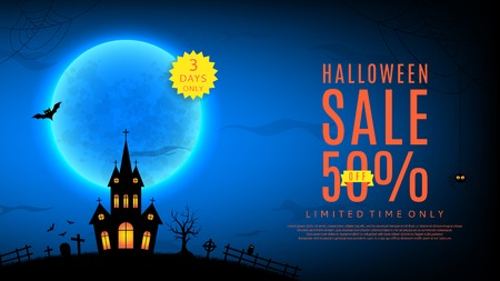 advertizing: illustration. Templates of poster with terrible house on blue background. Halloween greeting card.