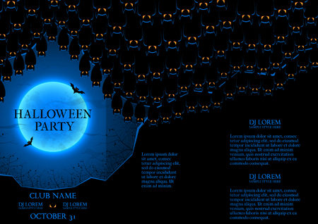intertainment: Templates of poster with bats in the cave. Dark blue greeting card.