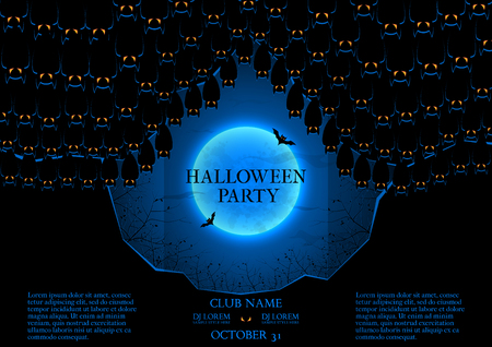 intertainment: Template of poster with bats in the cave. Dark blue greeting card. Invitation in night club.