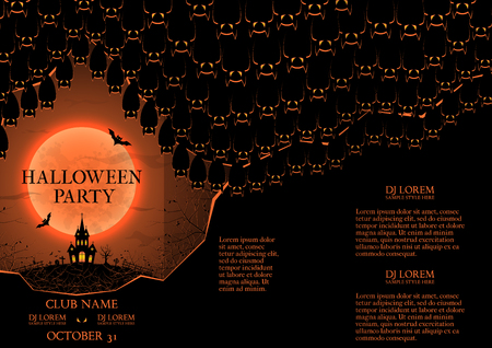 intertainment: Templates of poster with bats in the cave and terrible castle. Dark blue greeting card. Illustration