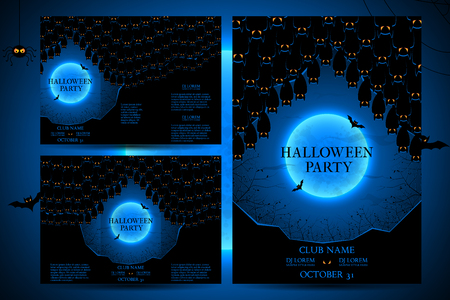 intertainment: Templates of posters with terrible house on blue background. Halloween party greeting cards.