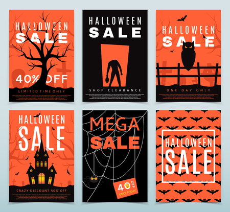 intertainment: Collection of orange and black isolated on light background. Halloween greeting cards. Discount banners.