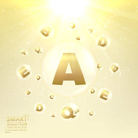 glowing skin: Concept of cream for protection from uv rays and from ageing. Shining background with transparent bubbles with golden letters. Vector illustration.