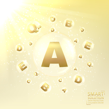 Concept of cream for protection from uv rays and from ageing. Shining background with transparent bubbles with golden letters. Vector illustration.