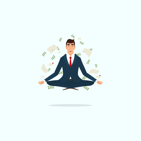 mindful: Human sitting and mindful meditating in lotus asana in zen peace. Vector illustration.