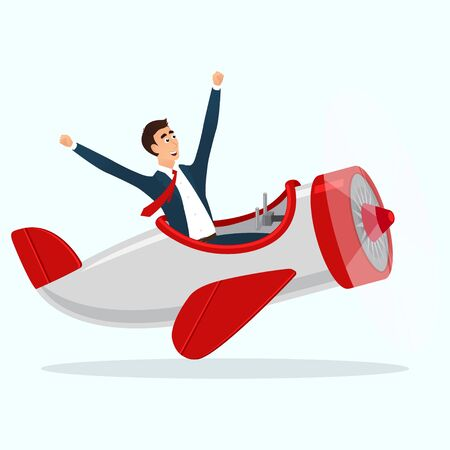 Concept of web banner with person flying by airplane to the sucsess. vector illustration.