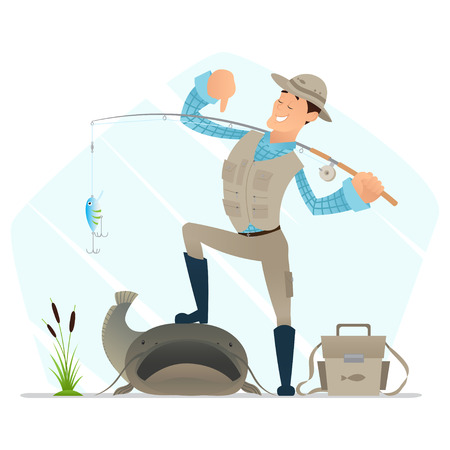 Happy cartoon character with a fishing rod stands with one leg on catfish. Vector illustration.