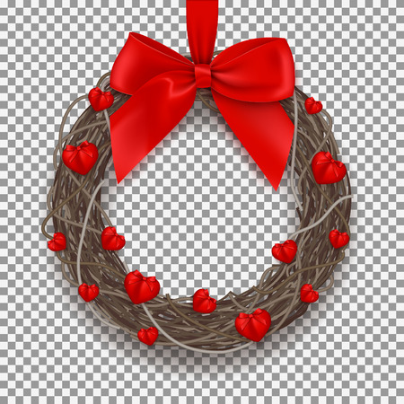 Symbol of Valentines Day with hearts and red bow on tape. Vector illustration.