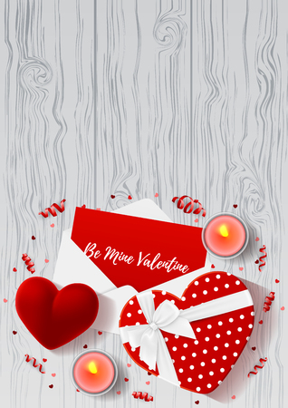 Top view on composition with gift boxes and red case for ring. Beautiful backdrop with confetti and serpentine on wooden texture. Vector illustration.