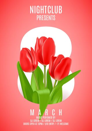 Beautiful flyer with red tulip. Vector illustration. Invitation to nightclub.