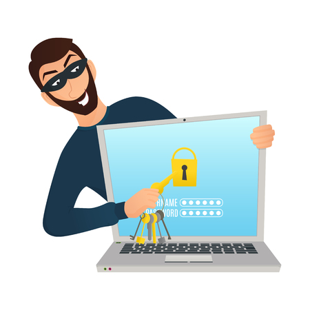 Cartoon man breaking laptop account. Vector character isolated on white background