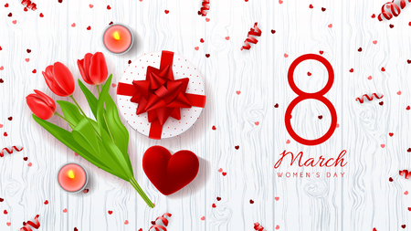 Top view on composition with red tulips, gift box, case for ring, candles and confetti. Vector illustration with serpentine on wooden texture.