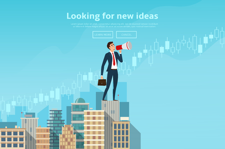 searching: Concept of web banner with person looking for new ideas. Modern flat design of urban landscape with city buildings. Vector illustration. Illustration