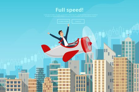 traders: Concept of web banner with person flying on plane to the sucsess. Modern flat design of urban landscape with city buildings. Vector illustration.
