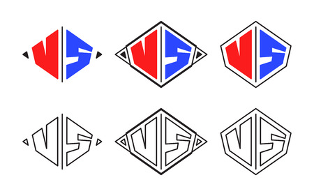 Vector illustration. VS symbols in flat style and linear style.