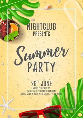 Top view on seashells, sunglasses, fresh cocktail, ice cream on sea sand. Vector illustration. Invitation to nightclub.