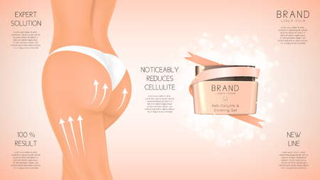 Concept of cosmetic cream. Vector illustration. Advertising of means for care of body skin for women.