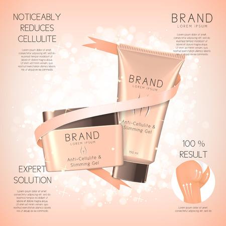 Concepto de crema cosmética. Ilustración del vector. Publicidad de medios para el cuidado de la piel del cuerpo para mujeres. Foto de archivo - 74956769